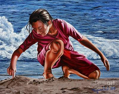 Painting - I Wrote Your Name On The Sand - Escribi Tu Nombre En La Arena by Rezzan Erguvan-Onal