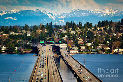 Puget Sound Photograph - I90 Bridge by Inge Johnsson