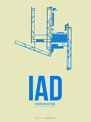 Cities Mixed Media - Iad Washington Airport Poster 1 by Naxart Studio