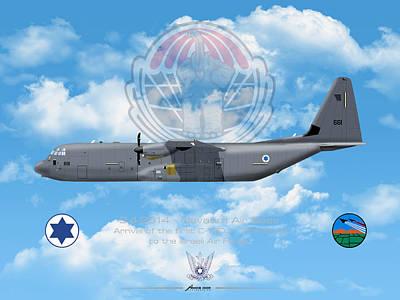 Drawing - Iaf C-130j Shimshon by Amos Dor