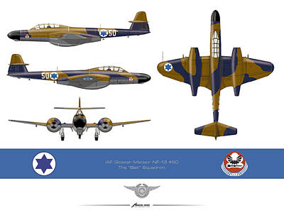 Print featuring the drawing Iaf Gloster Meteor Nf 13 Nr 50 by Amos Dor