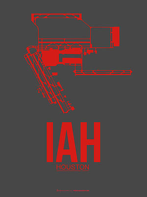 Airport Digital Art - Iah Houston Airport Poster 1 by Naxart Studio
