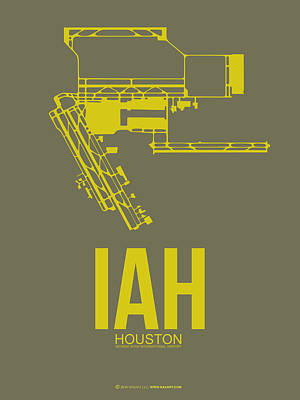 Town Mixed Media - Iah Houston Airport Poster 2 by Naxart Studio