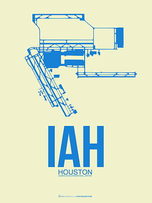 Jets Digital Art - Iah Houston Airport Poster 3 by Naxart Studio