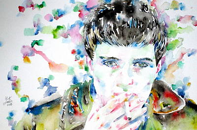 Trench Painting - Ian Curtis Smoking Cigarette Watercolor Portrait by Fabrizio Cassetta