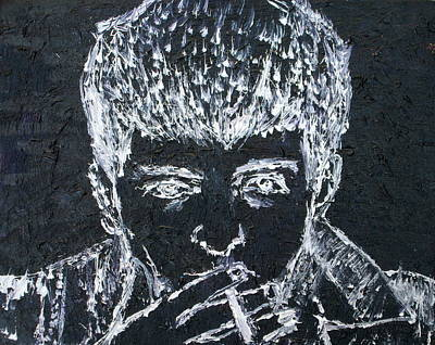 Division Painting - Ian Curtis Smoking - Oil Portrait by Fabrizio Cassetta