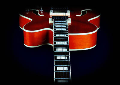 Floating Box Photograph - Ibanez Af75 Electric Hollowbody Guitar Neck Detail by John Cardamone