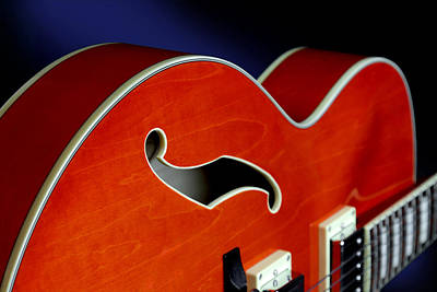 Floating Box Photograph - Ibanez Af75d Hollowbody Guitar In Transparent Orange Detail by John Cardamone