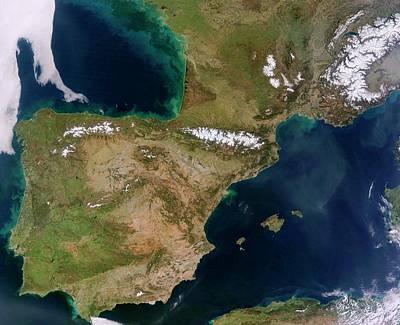 Land And Sea Photograph - Iberian Peninsula by Jeff Schmaltz, Lance/eosdis Modis Rapid Response Team At Nasa Gsfc