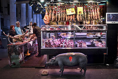 Iberico Ham Shop In La Boqueria Market In Barcelona Print by David Smith
