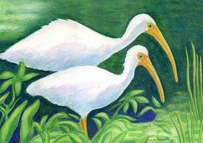 Painting - Ibis Pair Feeding by Jeanne Kay Juhos