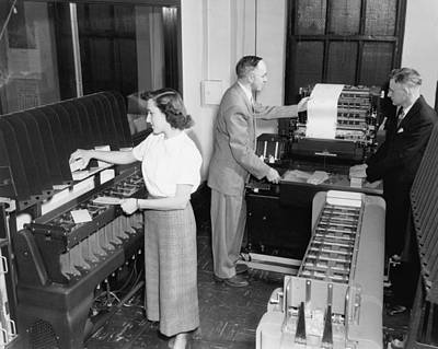 Photograph - Ibm Punch Card Machines by Underwood Archives