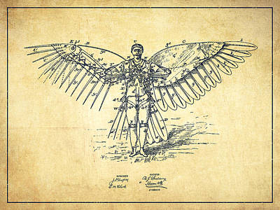 Icarus Drawing - Icarus Flying Machine Patent Drawing-vintage by Aged Pixel