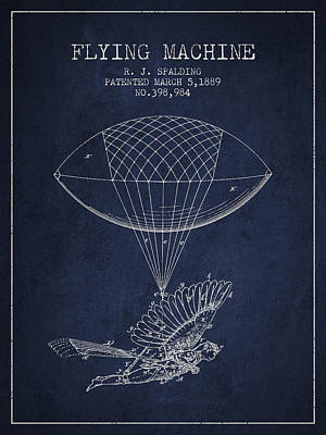 Icarus Drawing - Icarus Flying Machine Patent From 1889 by Aged Pixel