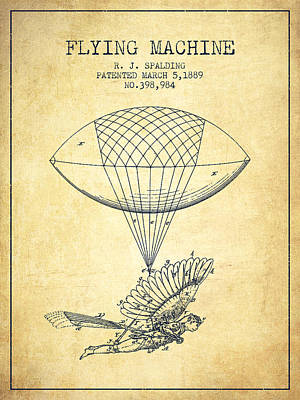 Icarus Drawing - Icarus Flying Machine Patent From 1889 - Vintage by Aged Pixel