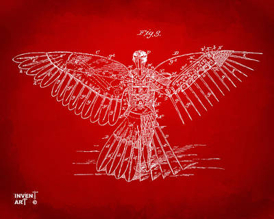 Icarus Human Flight Patent Artwork Red Art Print by Nikki Marie Smith