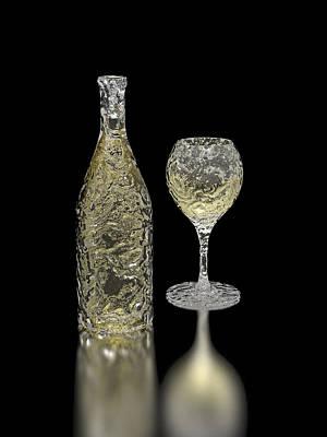 Icewine Digital Art - Ice Bottle And Glass by Hakon Soreide