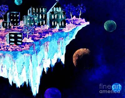 Ice City In Space Art Print by Denise Tomasura