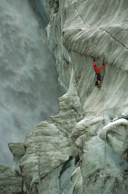 Fox Glacier Photograph - Ice Climber In Fox Glacier Crevasse by Colin Monteath