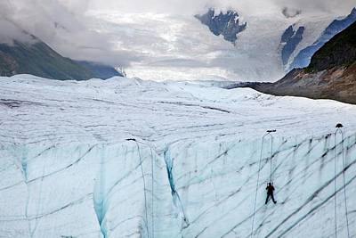 Ice Climber On A Glacier Art Print by Jim West