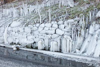 Natural Art Photograph - Ice Coating Roadside Verge by Ashley Cooper