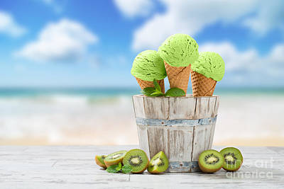 Blurred Background Photograph - Ice Cream At The Beach by Amanda Elwell