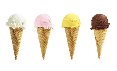 Ice Cream In Sugar Cones Print by Elena Elisseeva