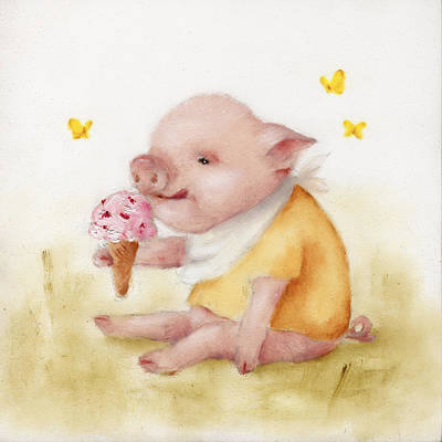 Painting - Ice Cream Pig Painting  by Junko Van Norman