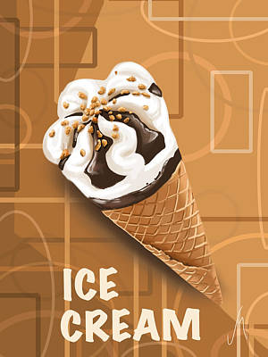 Cream Digital Art - Ice Cream by Veronica Minozzi