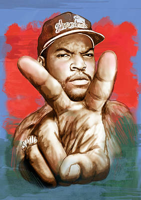 Rapper Drawing - Ice Cube - Stylised Drawing Art Poster by Kim Wang