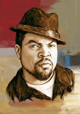 Rapper Drawing - Ice Cube - Stylised Pop Art Drawing Portrait Poster  by Kim Wang