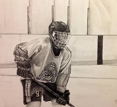Rivets Drawing - Ice Dog Bantam A by Gary Reising
