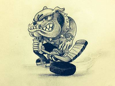 Mascot Drawing - Ice Dogs  by Gary Reising