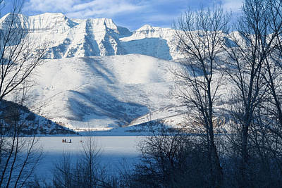 Snowy Mountain Loop Photograph - Ice Fishing On Deer Creek Reservoir by Utah Images