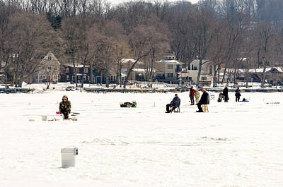 Photograph - Ice Fishing On Lake Hopatcong by Maureen E Ritter