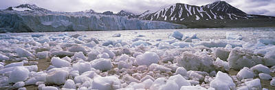 Ice Floes In The Sea With A Glacier Art Print