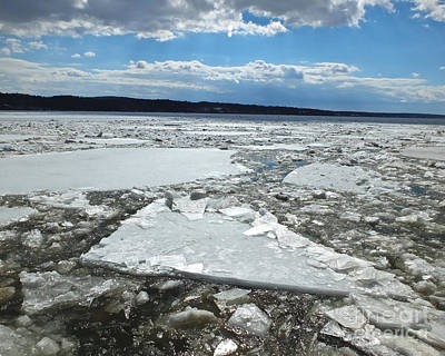 Photograph - Ice Flowing Down The Hudson River by Kristen Fox