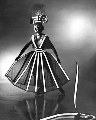 Full Skirt Photograph - Ice Follies Lighting Costumes by Underwood Archives