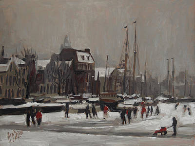 Holland Painting - Ice Fun In Vlaardingen by Nop Briex