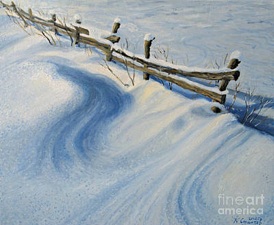 Christmas Holiday Scenery Painting - Ice Glitter by Kiril Stanchev