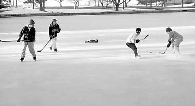 Pond Hockey Mixed Media - Ice Hockey - Black And White - Nostalgic by Steve Ohlsen