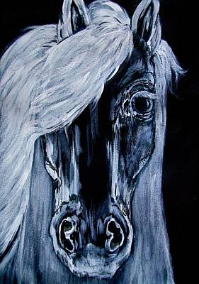 Lucky H Art Mixed Media - Ice Horse Painting by Heather Grieb