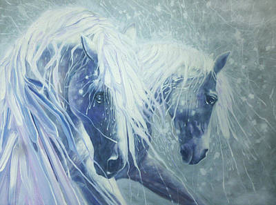 Abstract Male Faces - Ice Horses by Gill Bustamante