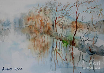 Ice On River Rednitz Art Print