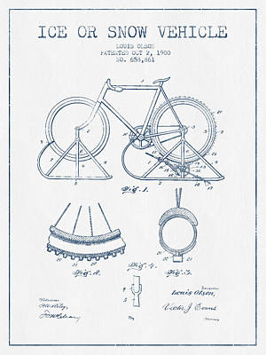Transportation Digital Art - Ice or snow Vehicle Patent Drawing from 1900  - Blue Ink by Aged Pixel