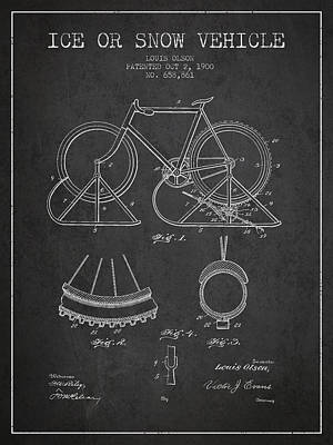 Transportation Digital Art - Ice or snow Vehicle Patent Drawing from 1900 - Dark by Aged Pixel