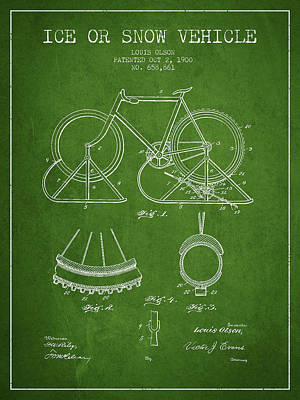 Transportation Digital Art - Ice or snow Vehicle Patent Drawing from 1900 - Green by Aged Pixel