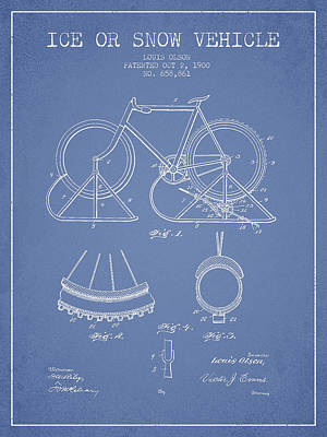 Transportation Digital Art - Ice or snow Vehicle Patent Drawing from 1900 - Light Blue by Aged Pixel
