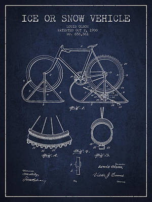 Transportation Digital Art - Ice or snow Vehicle Patent Drawing from 1900 - Navy Blue by Aged Pixel
