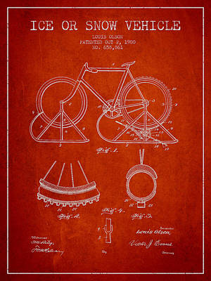 Transportation Digital Art - Ice or snow Vehicle Patent Drawing from 1900 - Red by Aged Pixel